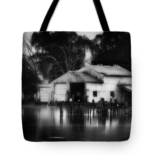 Tote Bag featuring the photograph Boathouse Bw by Bill Wakeley