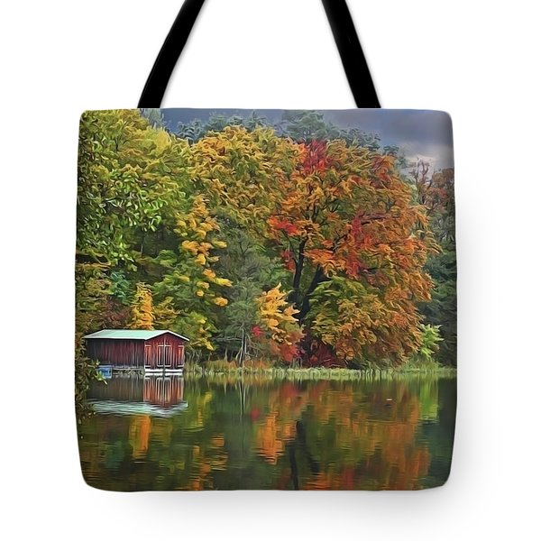 Tote Bag featuring the painting Boathouse by Harry Warrick