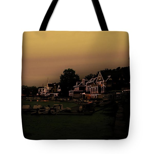 Tote Bag featuring the photograph Boathouse Row From The Lagoon Before Dawn by Bill Cannon