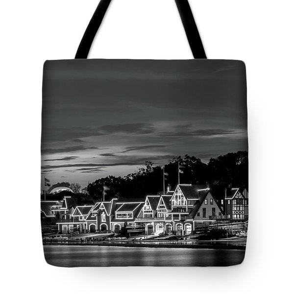 Boathouse Row Philadelphia Pa Night Black And White Tote Bag