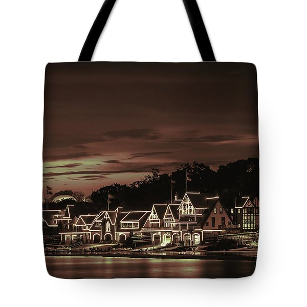 Boathouse Row Philadelphia Pa Night Retro Tote Bag