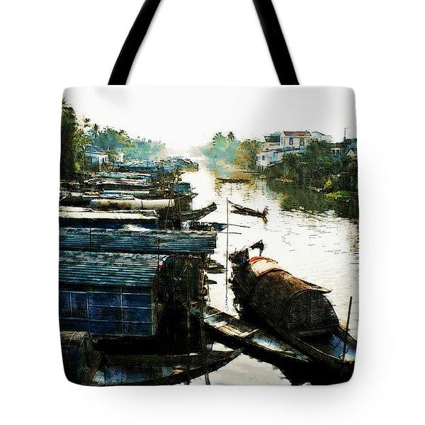 Boathouses In Vietnam Tote Bag