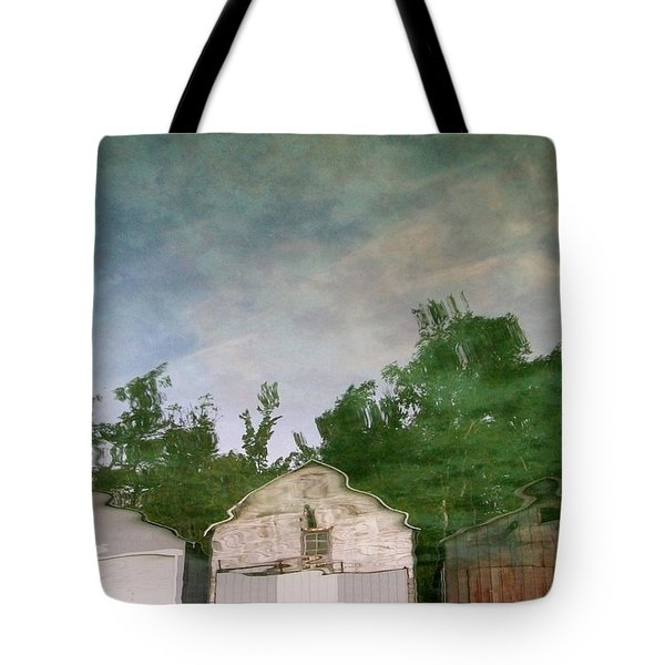 Boathouses With Sky And Trees Tote Bag by Michelle Calkins