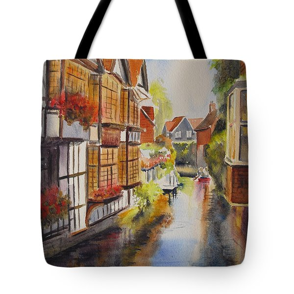Tote Bag featuring the painting Boating In Canterbury by Beatrice Cloake