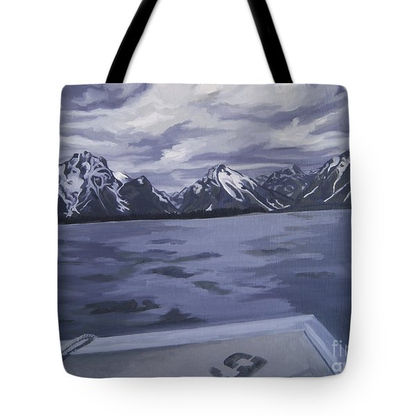 Tote Bag featuring the painting Boating Jenny Lake, Grand Tetons by Erin Fickert-Rowland
