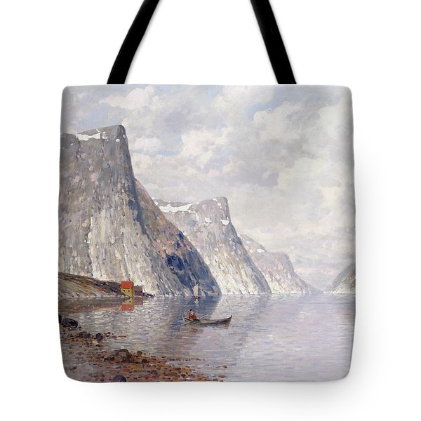Boating On A Norwegian Fjord Tote Bag by Johann II Jungblut