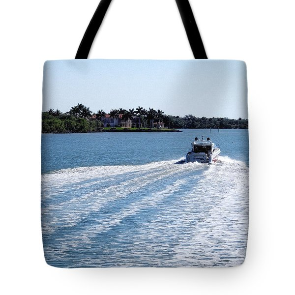 Tote Bag featuring the photograph Boating On Naples' Inland Waterway by Lars Lentz