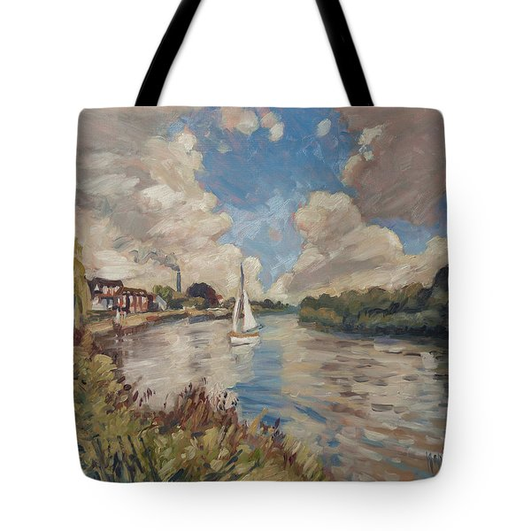 Tote Bag featuring the painting Boating On The Thames by Nop Briex