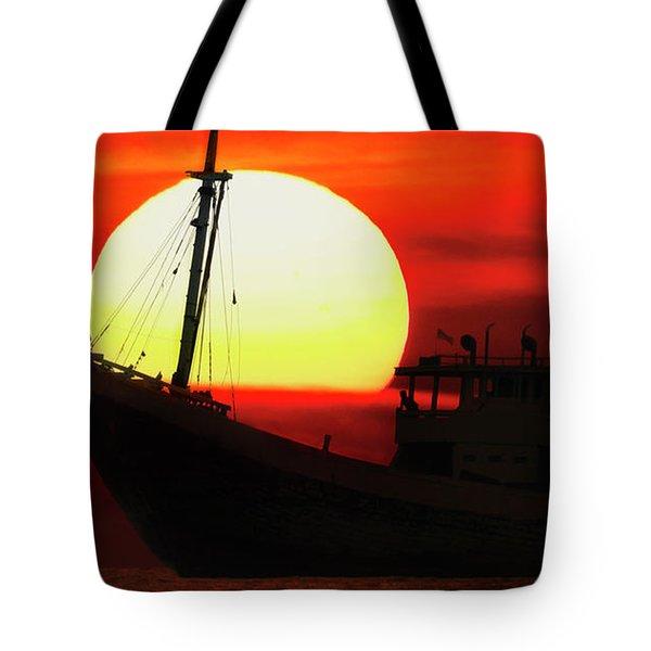 Boatman Enjoying Sunset Tote Bag