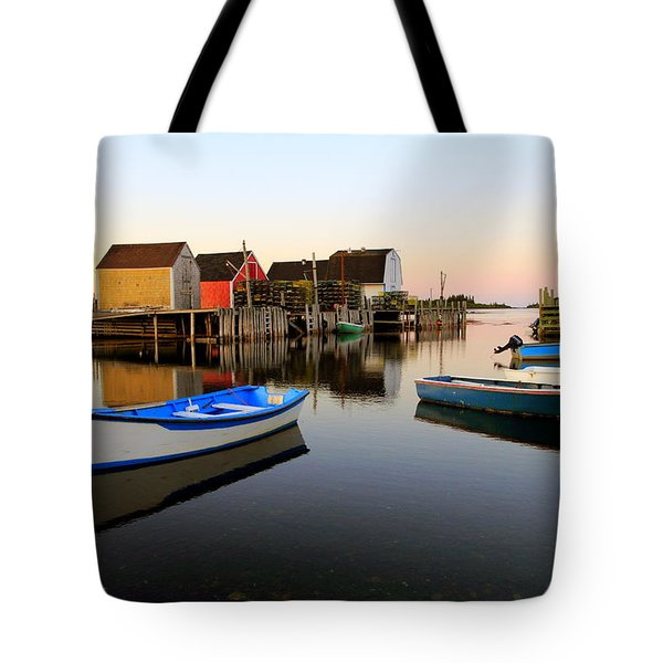 Boats And Fish Shacks At Blue Rocks, Nova Scotia Tote Bag