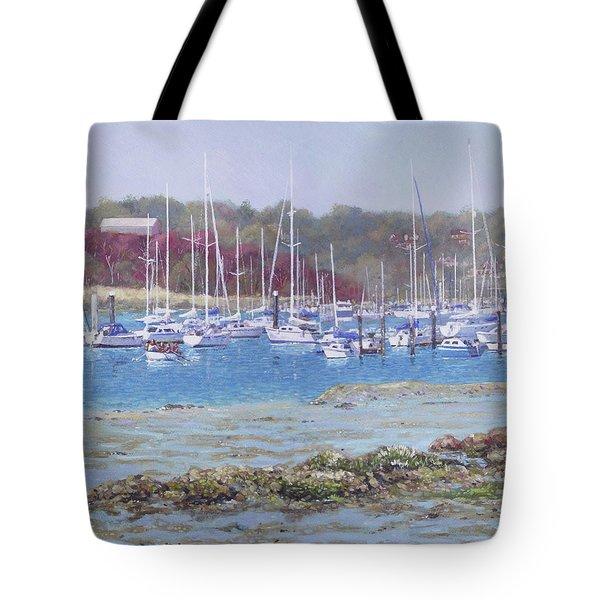 Tote Bag featuring the painting Boats At Hamble Marina by Martin Davey