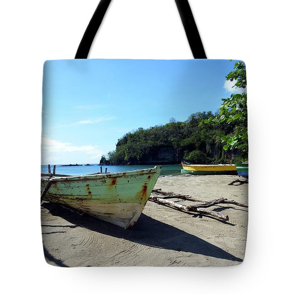 Tote Bag featuring the photograph Boats At La Soufriere, St. Lucia by Kurt Van Wagner