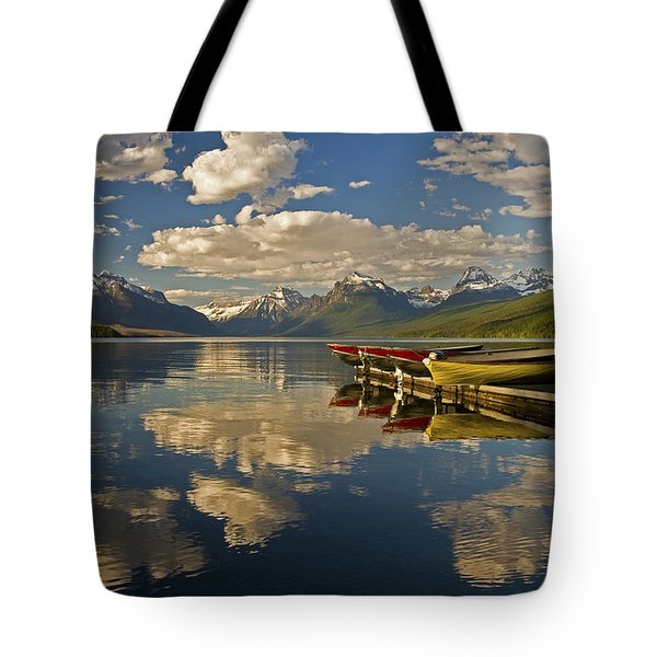 Boats At Lake Mcdonald Tote Bag by Gary Lengyel