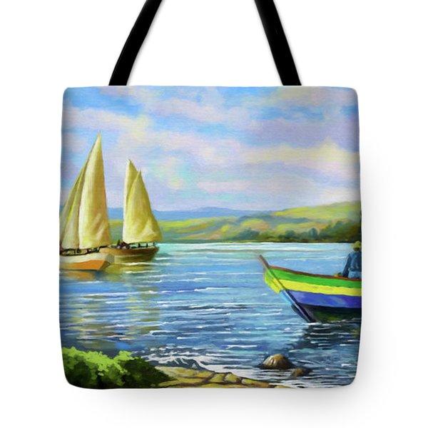 Boats At Lake Victoria Tote Bag