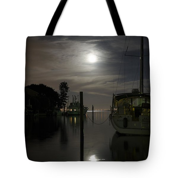 Boats At Moon Rise Tote Bag