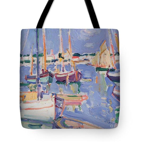 Boats At Royan Tote Bag by Samuel John Peploe
