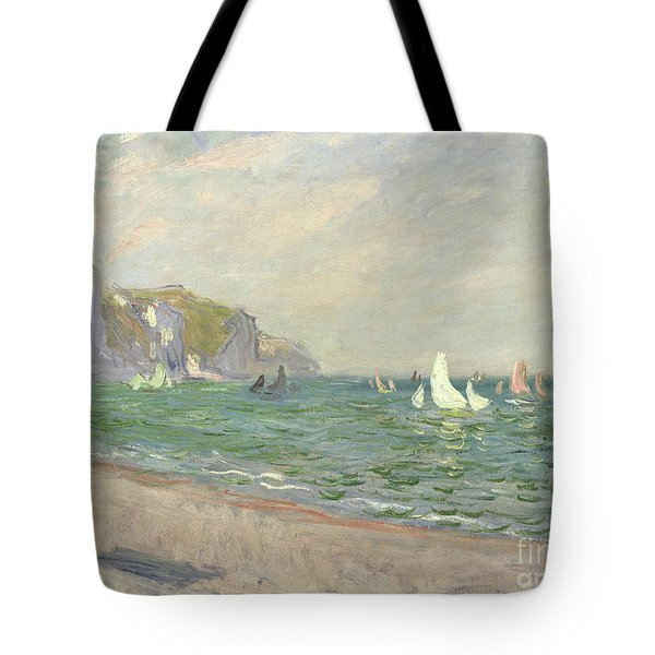 Boats Below The Cliffs At Pourville Tote Bag