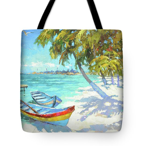 Tote Bag featuring the painting Boats  by Dmitry Spiros