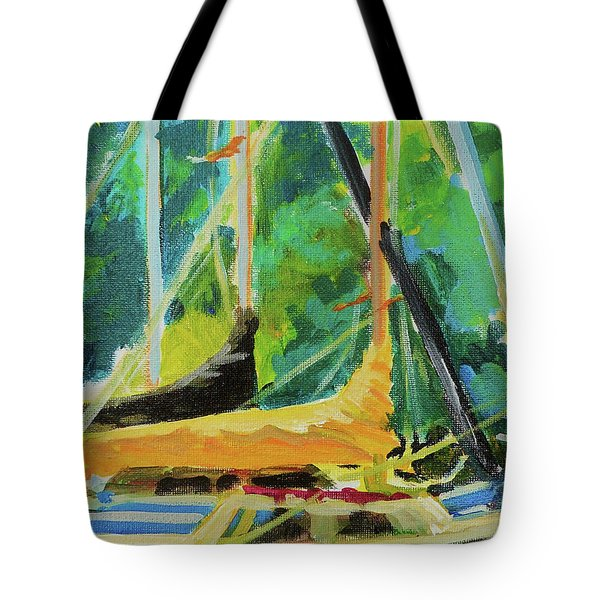 Boats Docked In The Morning Tote Bag by Margaret  Plumb