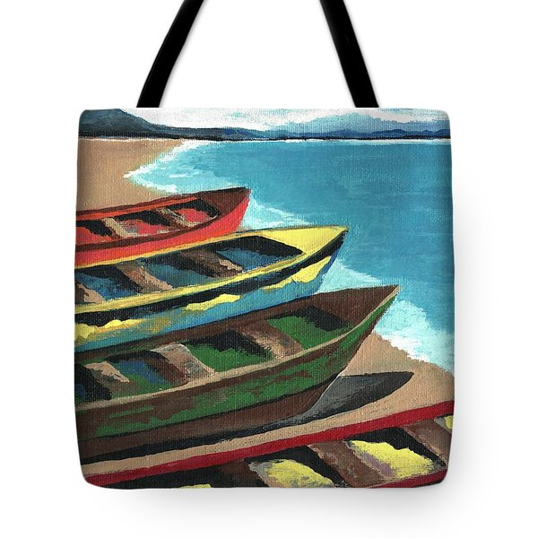 Boats In A Row Tote Bag by Kathleen Sartoris
