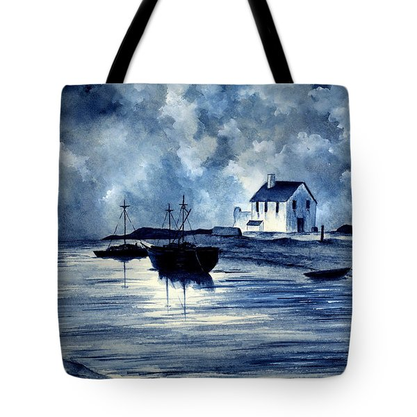 Boats In Blue Tote Bag by Michael Vigliotti