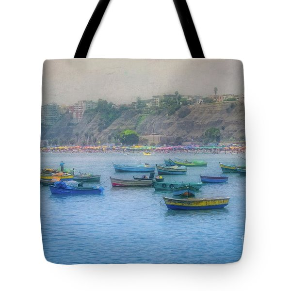 Tote Bag featuring the photograph Boats In Blue Twilight - Lima, Peru by Mary Machare
