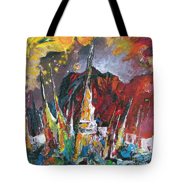 Boats In Calpe 01 Spain Tote Bag by Miki De Goodaboom
