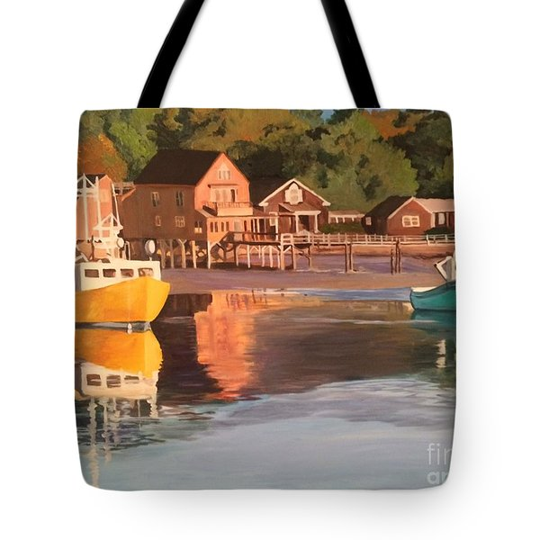 Boats In Kennebunkport Harbor Tote Bag