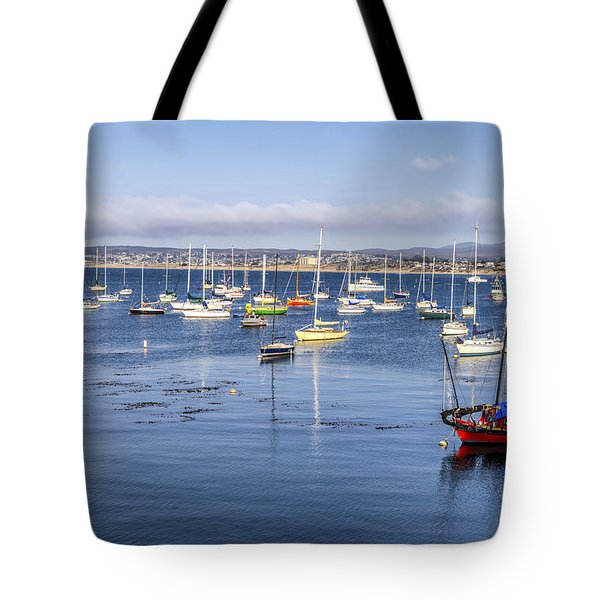 Boats In Monterey Bay Tote Bag by Joseph S Giacalone