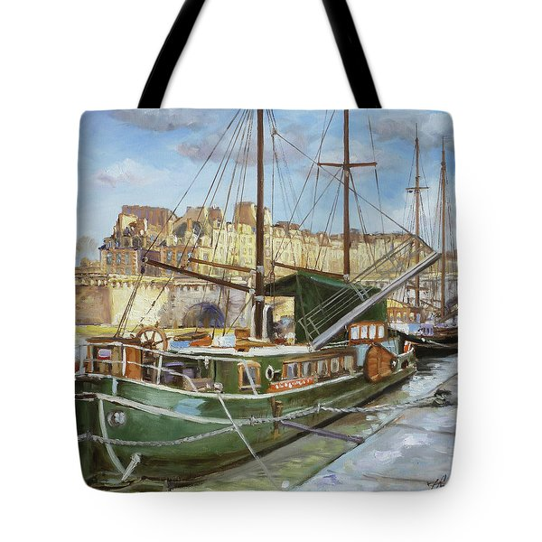 Boats In Paris, Pont Neuf Tote Bag