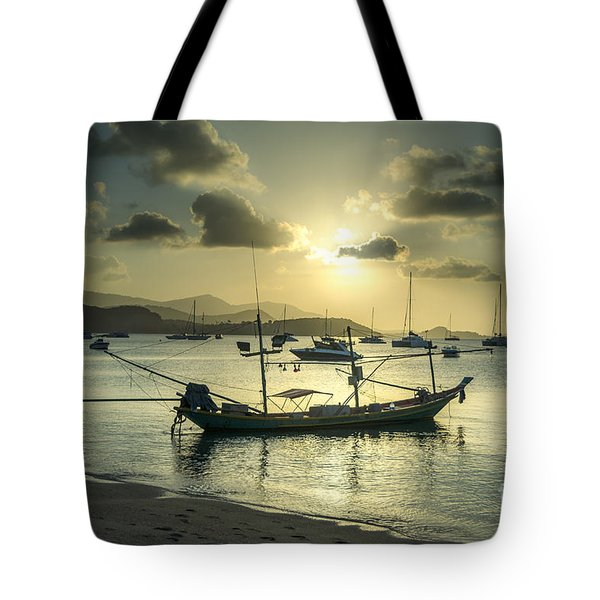 Boats In The Bay Tote Bag