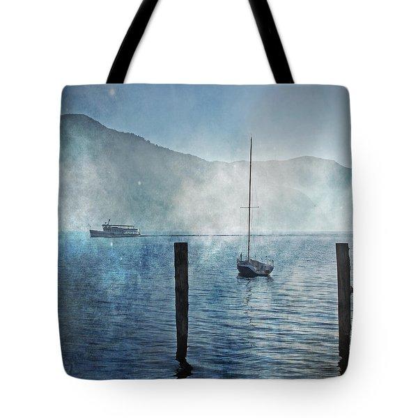 Boats In The Fog Tote Bag by Joana Kruse