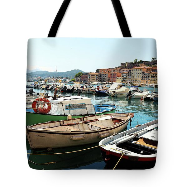 Tote Bag featuring the photograph Boats In The Harbour by MGL Meiklejohn Graphics Licensing