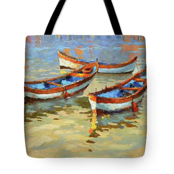 Boats In The Sunset Tote Bag