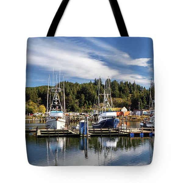 Tote Bag featuring the photograph Boats In Winchester Bay by James Eddy