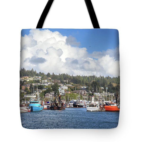 Boats In Yaquina Bay Tote Bag