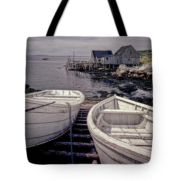 Boats Near Peggys Cove Tote Bag