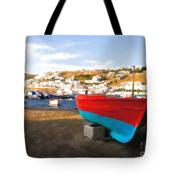 Tote Bag featuring the photograph Boats Of Mykonos by Mel Steinhauer