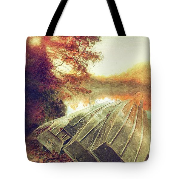 Boats On Price Lake During Autumn Sunrise Ap Tote Bag