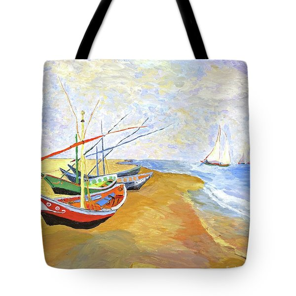 Tote Bag featuring the painting Boats On The Beach At Saintes-maries After Van Gogh by Rodney Campbell