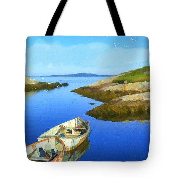 Boats Waiting In Calm Waters Tote Bag