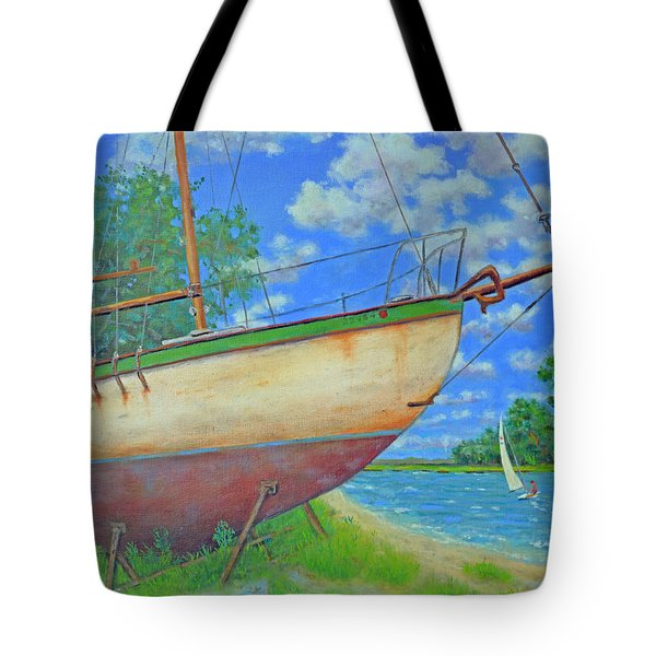 Boatyard On Shem Creek Tote Bag by Dwain Ray