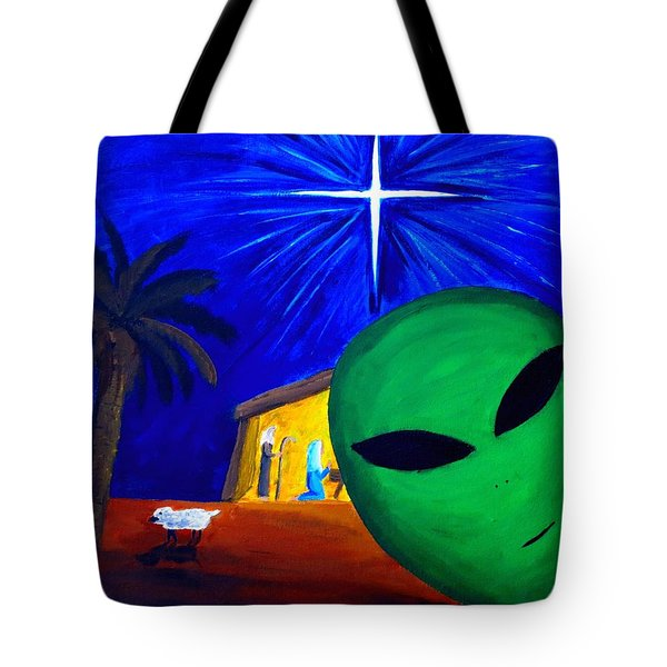 Tote Bag featuring the painting Bob At The Manger by Lola Connelly