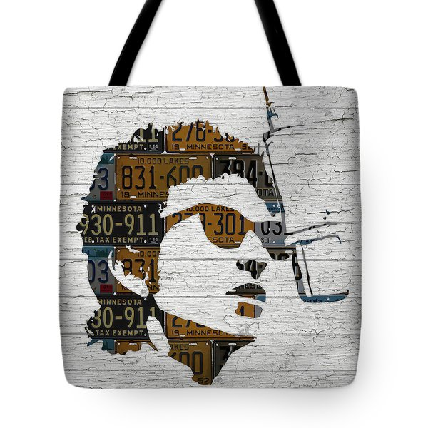 Bob Dylan Minnesota Native Recycled Vintage License Plate Portrait On White Wood Tote Bag by Design Turnpike