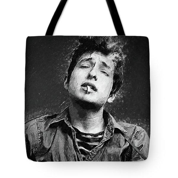 Tote Bag featuring the digital art Bob Dylan by Taylan Apukovska