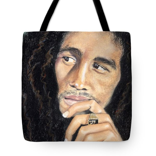 Tote Bag featuring the drawing Bob Marley by Ashley Kujan