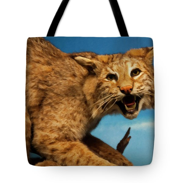 Tote Bag featuring the digital art Bobcat On A Branch by Chris Flees