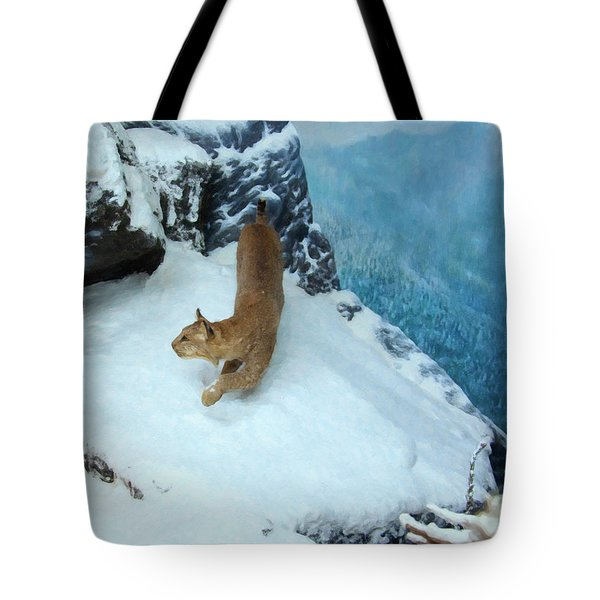 Tote Bag featuring the digital art Bobcat On A Mountain Ledge by Chris Flees
