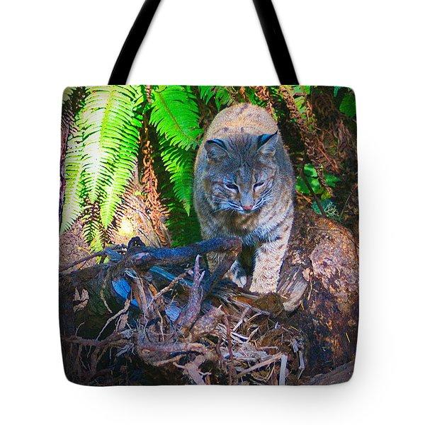 Bobcat On The Hunt Tote Bag