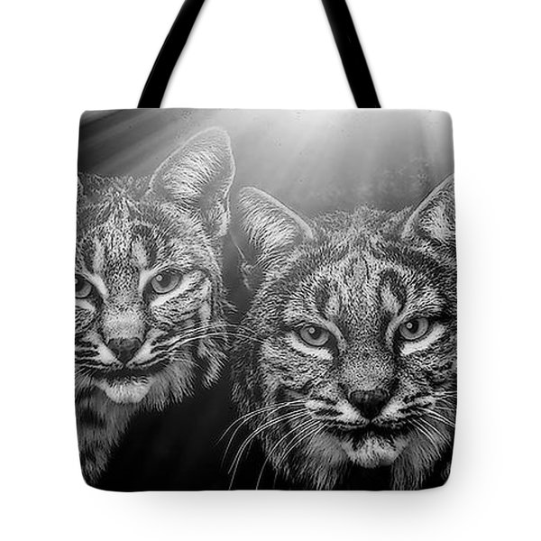 Tote Bag featuring the mixed media Bobcats by Elaine Malott